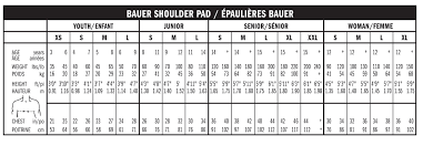 Youth Hockey Shoulder Pads Size Chart 13 Studious Bauer Runner Size Chart