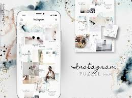 Instagram Puzzle Template Watercolor By Social Media Templates