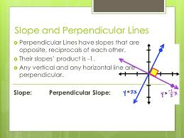 slope and perpendicular lines perpendicular lines have slopes that are opposite reciprocals of each
