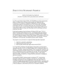 Executive Summary Sample For Proposal Samples Of Executive Summaries Free Executive Summary