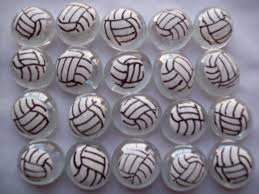 Volleyball Party Decorations Hand Painted Glass Gems Party Favors Volleyballs Volleyball