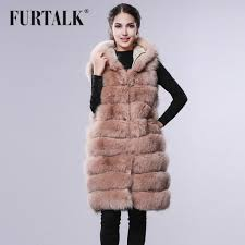 furtalk fox fur vest with big fur hood real fox fur coat winter women fur vest fur hat mall
