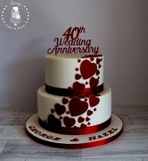 Graceful Inspiration 25th Anniversary Cakes 40th Ruby Wedding Cake
