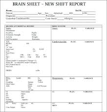 Nursing Shift Report Template The Ultimate Nursing Brain Sheet Database Nurse Report Templates
