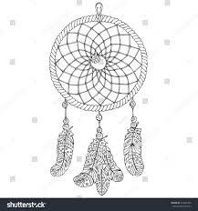 Dream Catcher Outline Amulet Dream Catcher Handdrawn Illustration Object Stock Vector 79