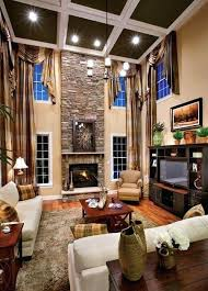 2 story family room with ceiling and entertainment wall chandelier