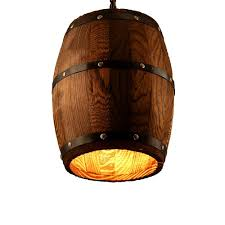 wooden wine barrel stave farmhouse chandelier ceiling light