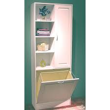 bathroom floor storage cabinets. Finest Linen Cabinet With Pull Out Laundry Hamper And Tier Open Shelves Plus Single Side Storage Bathroom Floor Cabinets