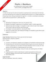 Resume Sample For Secretary Legal Assistant Resume Objective Examples Sample Secretary R