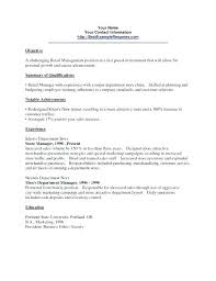 Department Store Manager Resumes Resume Objectives Retail Retail Resume Objective Examples Sample
