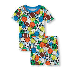 boys sleepwear the children s place off  boys short sleeve sports balls print tee and short pajama set