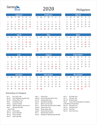 2020 calendar philippines with holidays