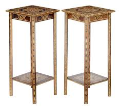 pair of mid 20th century damascan lamp tables