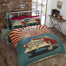 retro garage duvet cover set king size vintage car bedding with sets design 0