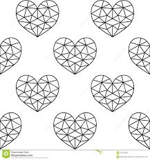 Geometric Heart Seamless Pattern Valentines Day Black Hearts On