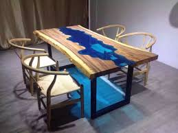 Natural Wood Dining Tables Custom Made Acacia Live Edge River Wood And Glass Dining Table