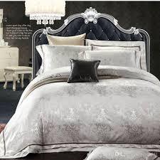 european style white jacquard silk cotton bedding sets queen king size 4 noble satin bedclothes duvet cover bed linen set home textile modern duvet pretty