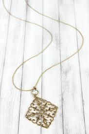 home fashion line necklaces crave rhinestone goldtone filigree diamond pendant necklace