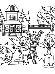Small Picture Halloween Coloring Pages Haunted House Coloring Page Halloween