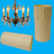 6x ivory drip candle sleeve wax effect chandelier light bulb cover 85mm x 40mm