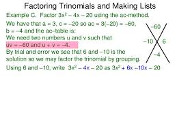Ac Method 49 Factoring Trinomials The Ac Method And Making Lists