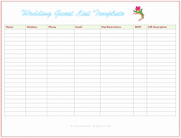 Excel Guest List 40 Inspirational Wedding Guest List Template Excel Pictures Gerald