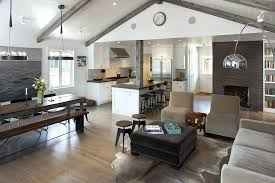 open floor plans with vaulted ceilings open concept floor plans living room farmhouse with arc lamp