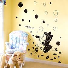 kids black room decor little girl blowing bubbles wall stickers girls room removable wall stickers