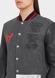 versace bauhaus appliqués varsity jacket grey print men versace jackets coats versace