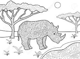 rhinoceros coloring book for s vector ilration anti stress coloring for style