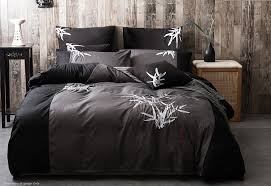 super king size embroidered bamboo pattern black grey quilt cover set 3pcs wholes direct