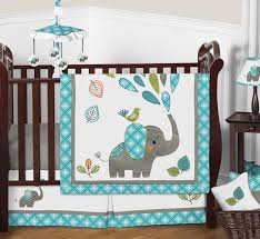 11pc crib bedding set for the mod elephant collection by sweet jojo designs com