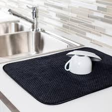 harman lush plush microfiber dish drying mat black kitchen stuff