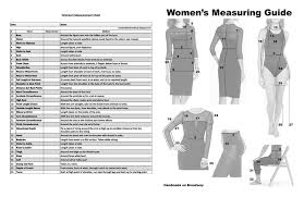 Dress Measurement Chart Handmade On Broadway Measurement Chart For Women Fillable