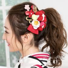 髪飾り 2点セット 赤系 レッド ピンク 桜 梅 花 和柄 coat