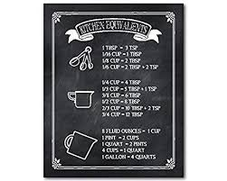 Kitchen Conversion Chart Decor Amazon Com Ready To Hang Wrapped Canvas Kitchen Equivalents