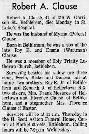 Robert A Clause Obituary - Newspapers.com