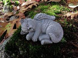 cat angel concrete statues pet memorial