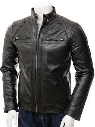 men s black leather biker jacket sibiu front