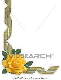 gold ribbon border drawing of yellow rose and gold ribbon border k1430513 search