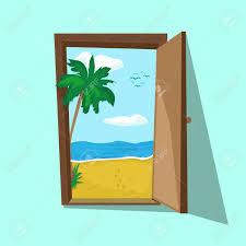 パーム ビーチと海が開いたドアのイラスト夢の週末と夏の休日旅行