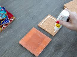 add glue to cork squares