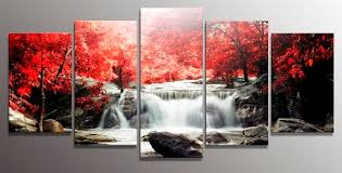 red waterfall wall art
