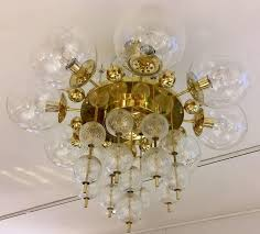 mid century modern large brass and crystal chandelier by kamenicky senov 1960s for