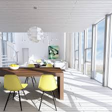 Sunny Yellow Eames Chairs Interior Design Ideas