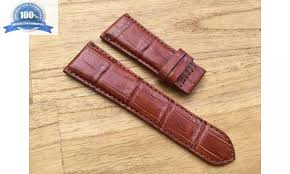 tan genuine crocodile leather watch strap band for cartier tank divan 28mm