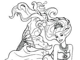 Free Printable Barbie Mermaid Coloring Pages Colouring Princess To