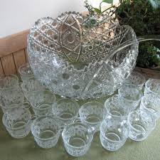 l e smith punch bowl daisy and ons 20 piece cut glass punc