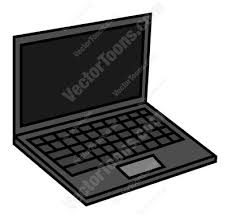 laptop clipart. front view of open laptop computer clipart