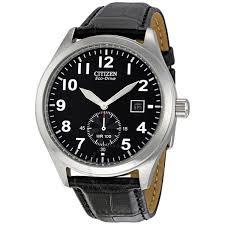 citizen eco drive black dial black leather strap men s watch bv1060 07e